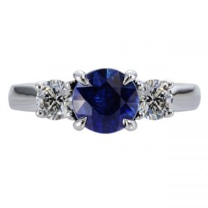 1.33ct Round Brilliant Cut Sapphire & Diamond Three-Stone Ring