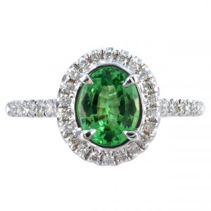 0.99ct Tsavorite Garnet & Diamond Halo Ring