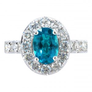 1.37ct Paraiba Tourmaline & Diamond Halo Ring