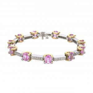 Pink Sapphire & Diamond Link Bracelet