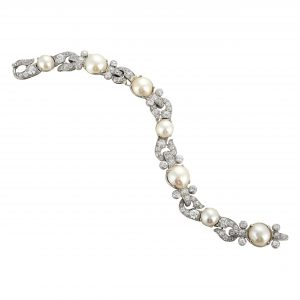 Art Deco Platinum Pearl & Diamond Link Bracelet