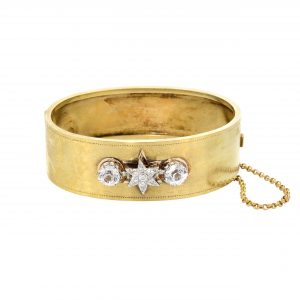 Victorian Diamond & Sapphire Star Bangle Bracelet