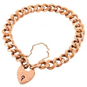 Victorian Rose Gold Heart Lock Bracelet