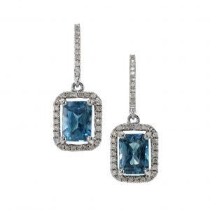 Blue Zircon & Diamond Halo Dangle Earrings