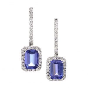 Emerald Cut Tanzanite & Diamond Halo Dangle Earrings