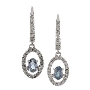 Alexandrite & Diamond Halo Dangle Earrings