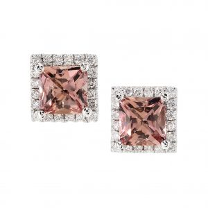 Imperial Topaz & Diamond Halo Stud Earrings