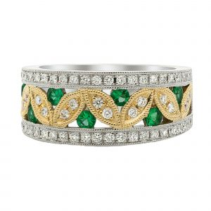 Tsavorite & Diamond Floral Band