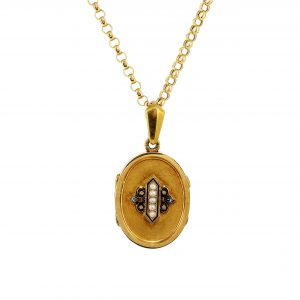 Victorian Pearl, Diamond & Enamel Locket