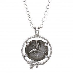 Taras Coin Pendant with Diamonds