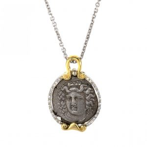 Larissa Coin Pendant with Diamonds