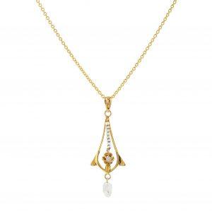 Art Nouveau Pearl & Diamond Lavalier Pendant