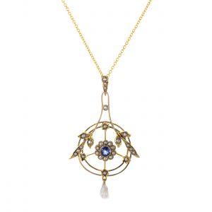 Victorian Sapphire & Pearl Lavalier Pendant