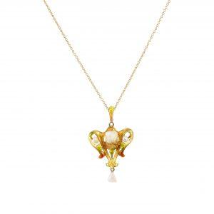 Art Nouveau Floral Pearl & Enamel Pendant