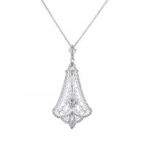 Art Deco Diamond Filigree Pendant