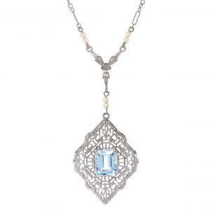 Art Deco Aquamarine & Pearl Lavalier Necklace