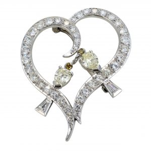 Estate 'Lovebirds' Diamond Brooch