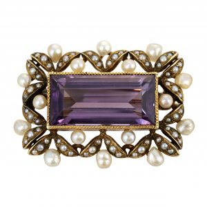 Victorian Amethyst & Pearl PIn