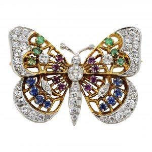 Estate Diamond & Gemstone Butterfly Pin