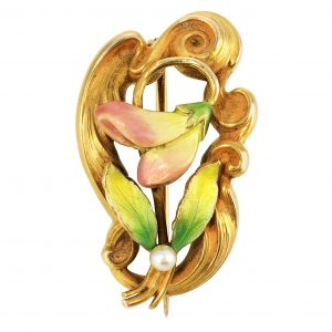 Art Nouveau 'Jack-in-the-Pulpit' Enamel Pin