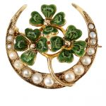 Art Nouveau Clover & Moon Pin