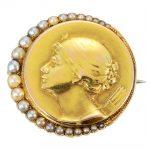 Art Nouveau Pearl Portrait Pin