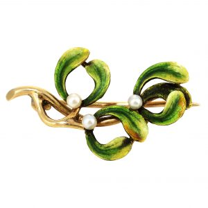 Art Nouveau Mistletoe Enamel Pin