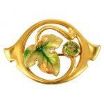 Art Nouveau Peridot Floral Pin