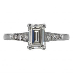 1.05ct Emerald Cut Diamond Art Deco Engagement Ring