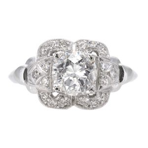 1.19ct Diamond Art Deco Engagement Ring