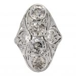 Art Deco Four-Stone Filigree Ring