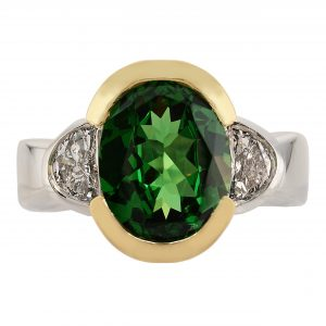 2.96ct Tsavorite Garnet & Diamond Bezel Ring