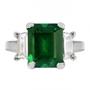 3.43ct Emerald Cut Emerald & Diamond Ring