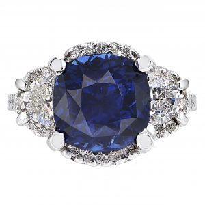 4.20ct Cushion Cut Sapphire & Diamond Ring