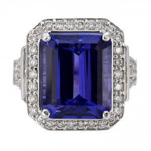 10.85ct Emerald Cut Tanzanite & Diamond Halo Ring