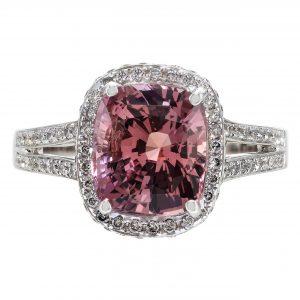 4.15ct Padparadscha Sapphire & Diamond Halo Ring
