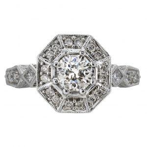 0.74ct Round Brilliant Cut Octagon Halo Engagement Ring