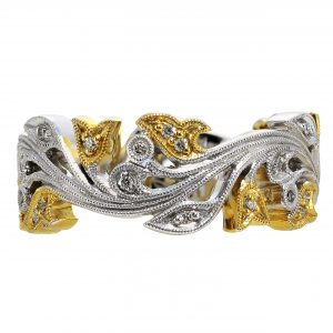 Two-Tone Floral Diamond Band