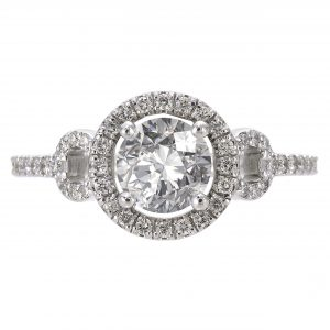 1.01ct Round Brilliant Cut Buckle Halo Engagement Ring