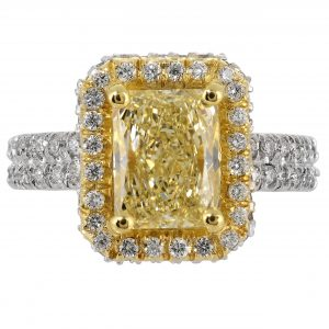2.18ct Radiant Cut Fancy Yellow Diamond Halo Ring