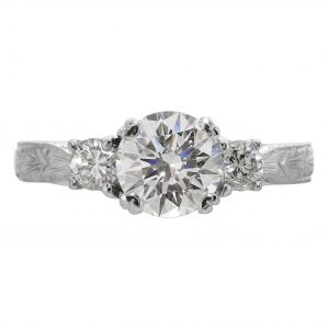 1.08ct Round Brilliant Cut Diamond Antique Revival Engagement Ring