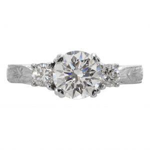 1.08ct Round Brilliant Cut Diamond Antique Revival Engagement Ring