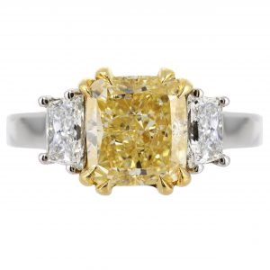 3.02ct Radiant Cut Fancy Yellow Diamond Three-Stone Ring