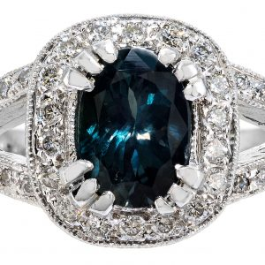 1.45ct Oval Cut Natural Alexandrite & Diamond Halo Ring