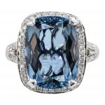 5.31ct Cushion Cut Aquamarine & Diamond Halo Ring