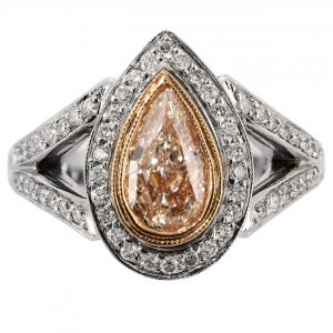 1.02ct Pear Fancy Pink Diamond Antique Revival Ring