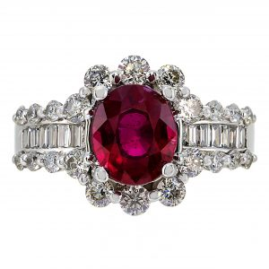 1.75ct Oval Cut Ruby & Diamond Halo Ring