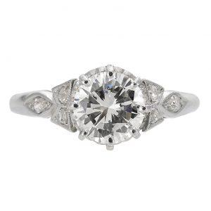 1.17ct Round Brilliant Cut Diamond Antique Engagement Ring