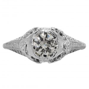0.38ct Diamond Art Deco Filigree Engagement Ring