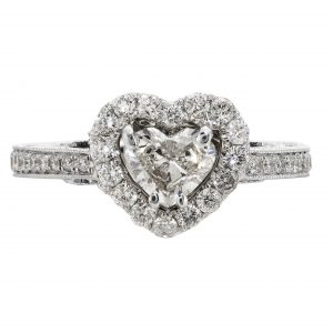 0.53ct Heart Shape Diamond Halo Engagement Ring